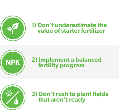 1) Don't underestimate the value of starter fertilizer  2) Implement a balanced fertility program  3) Don't rush to plant fields that aren't ready