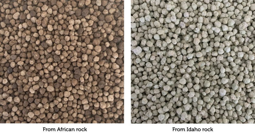 Fertilizer texture and color from African Rock (left) and Idaho Rock (right)