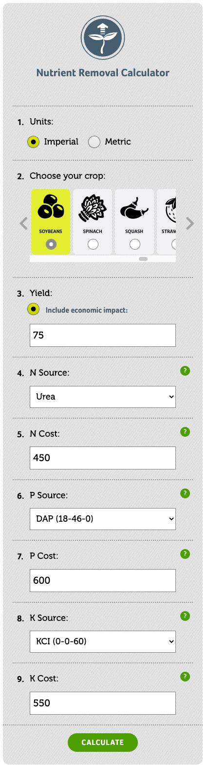 Scenario 1 nutrient removal tool example
