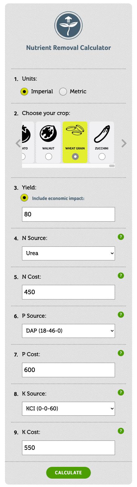 Scenario 2 nutrient removal tool example