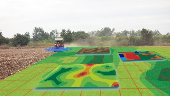 smart agriculture concept, farmer use infrared in tractor with high definition soil mapping while planting,conduct deep soil scan during a tillage pass include organic, ec, om, Nitrogen,seed rate